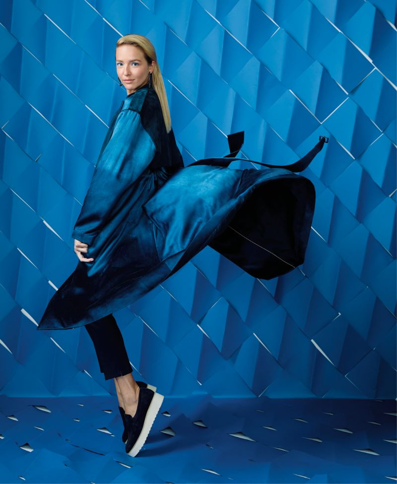 """Indigo Girl - Alejandra Alonso Rojas """"Diana"""" hand-dyed indigo silk trench coat, $2,195 at RTW; Jude Connally """"Olivia"""" ankle pants, $178 at Jude Connally; Allie Beads beaded star hoops, $46 at Rhodes Boutique; Vince """"Zeta"""" platform loafers in """"Coastal,"""" $275 at Shoes on King"""