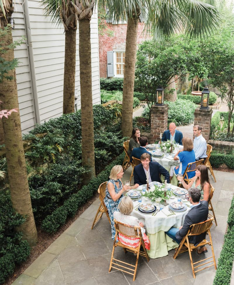 Lynn and her husband, Dean Andrews, host a springtime dinner party at their boutique hotel property, Zero George.