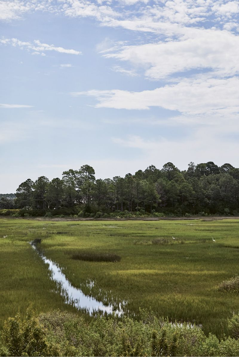 "With a lot overlooking a tidal creek as well as the private community's Tom Watson-designed golf course, the couple wanted the focus to be on the outdoors. ""It's such a beautiful setting,"" says the mother. ""We watch folks fly-fishing, wildlife in the marsh, and golfers on the greens. It's all so very relaxing."""