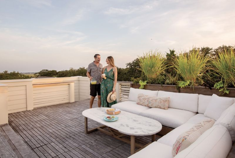 Top of the World: Overstuffed cushions offer the perfect perch for taking in the views of Sullivan's Island and its lighthouse