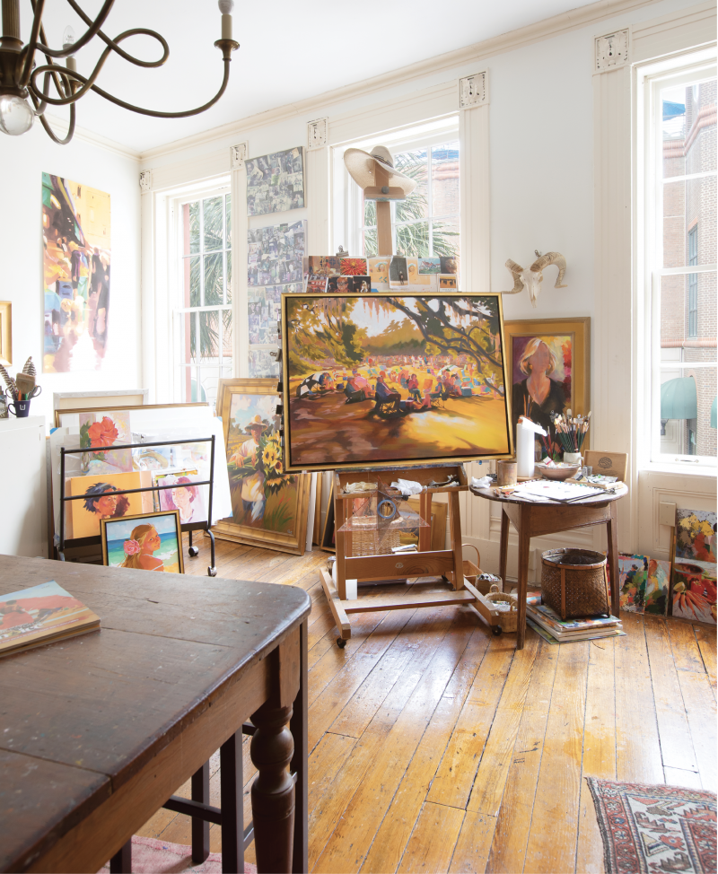Natural light floods into Rhett Thurman's King Street studio, located on one floor of the building in which she has lived and worked for 24 years.