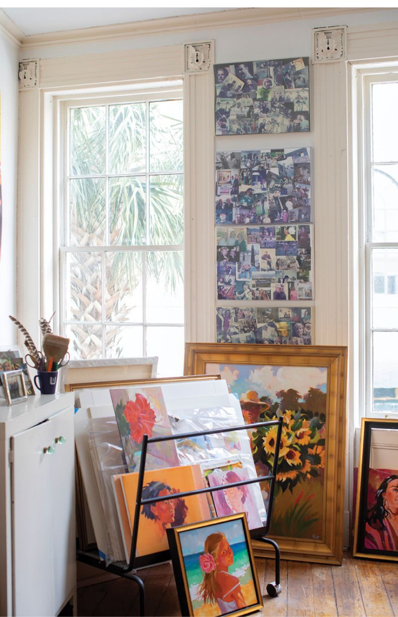 """She keeps photo collages of family and longtime local artist friends, including Betty Anglin Smith, Eva Carter, and Margaret Petterson, just beyond her easel. """"Having their faces looking at me is encouraging,"""" she says."""