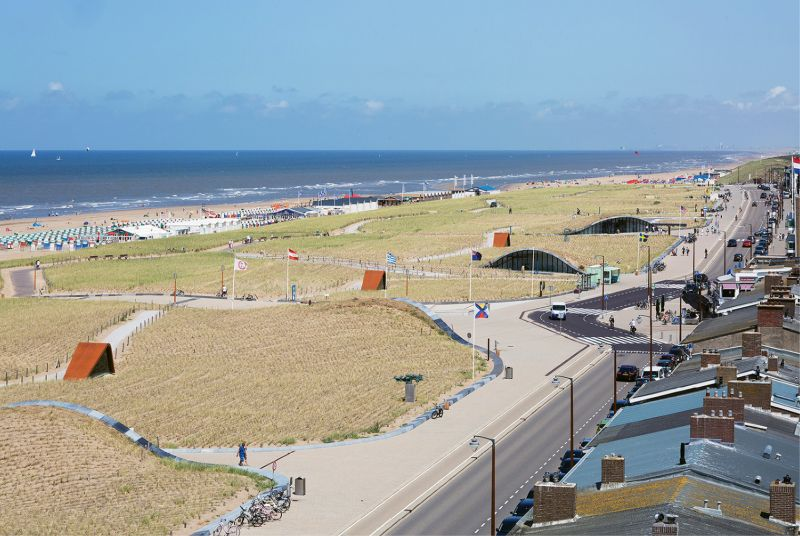 In the tourist beach town of Katwijk on the North Sea, Dutch architects designed a series of man-made dunes rising 25 feet above sea level that not only provide protection from storm surge and future sea level rise but parking facilities underneath for nearly 700 cars, all integrated into the natural coastal environment. The design won Best Building of the Year 2016 by the Royal Institute of Dutch Architects.
