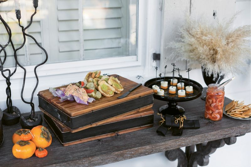 """Harvest Catering pulled together a menu with a charcuterie board, persimmon and mozzarella bites, and chilled shrimp, aka """"brain mold"""""""