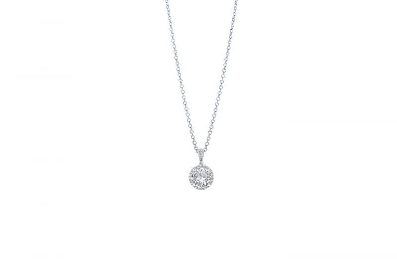 Diamonds Direct Designs 14K white-gold diamond pendant with halo accent, price upon request at Diamonds Direct