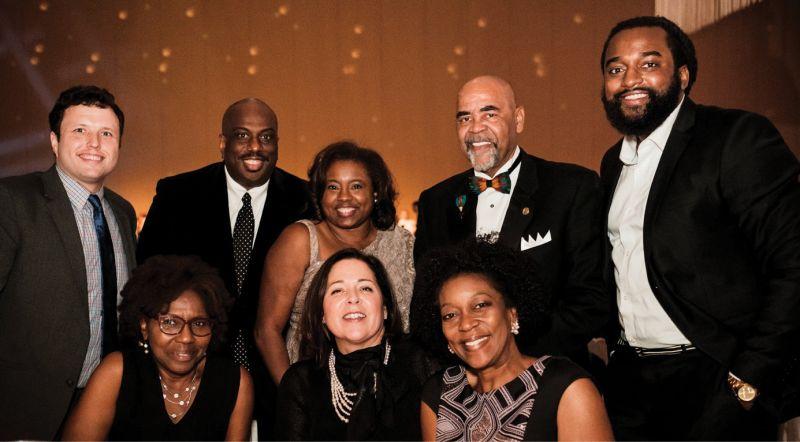 (Back row) Landon Davis, Malcolm and Kim Graham, Paul Stoney, and Marcus Hammond; (front row) Ginger Chatman, Jennifer Schuchart, and Allison Stoney