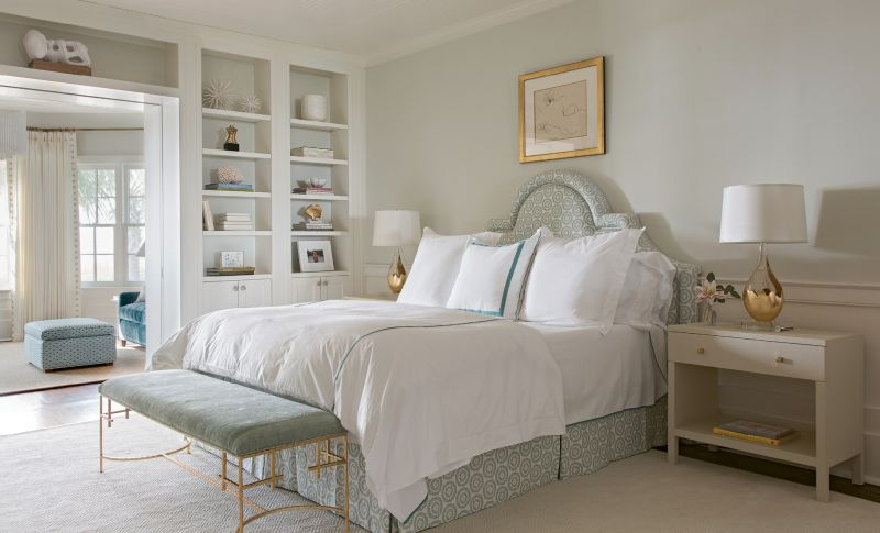 SWEET DREAMS: The serene color palette of the master bedroom and adjoining sitting room allows the ocean view to take center stage.