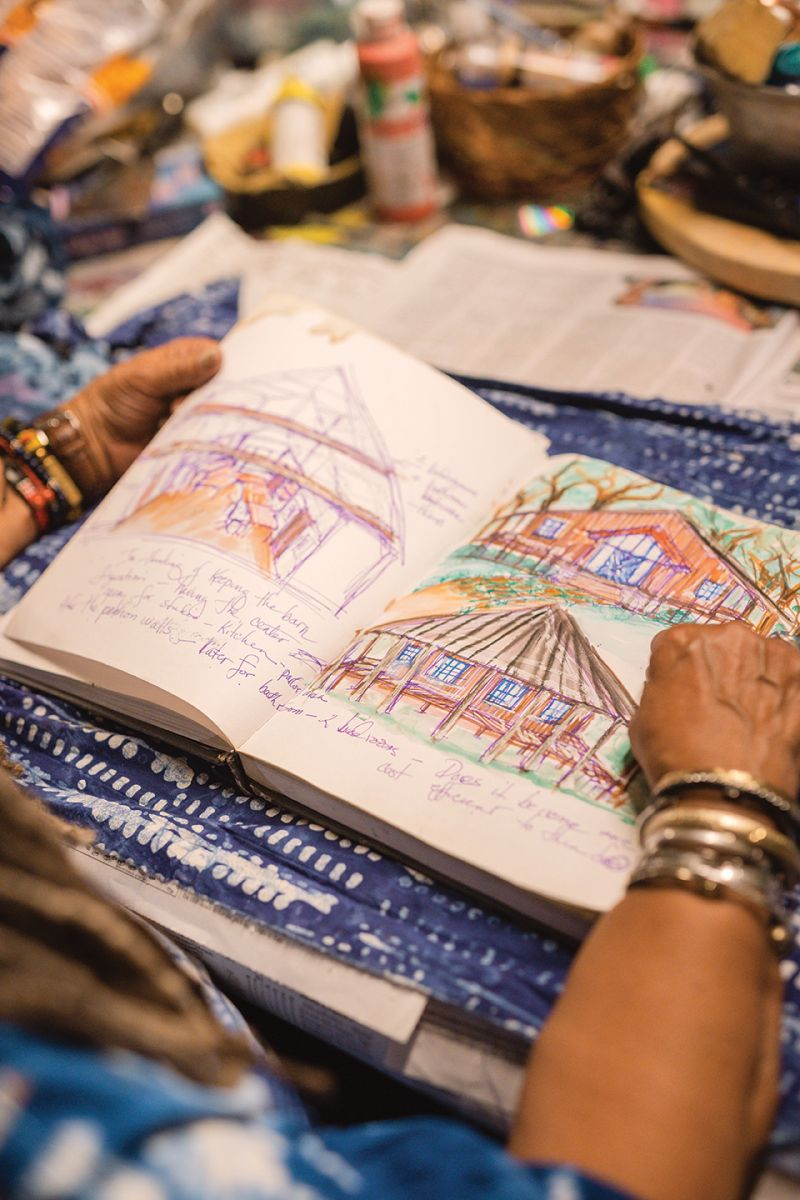 Comer sketches ideas for her new home on Wadmalaw Island, where she is planning to grow Nigerian indigo as part of a three-year study.
