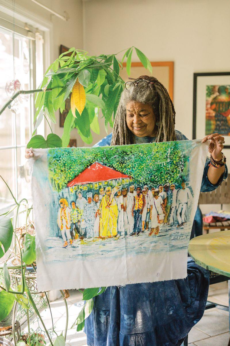 While in residence at the Gibbes this spring, the artist created this batik painting to memorialize the reburial of enslaved people's remains on the grounds of the Galliard.