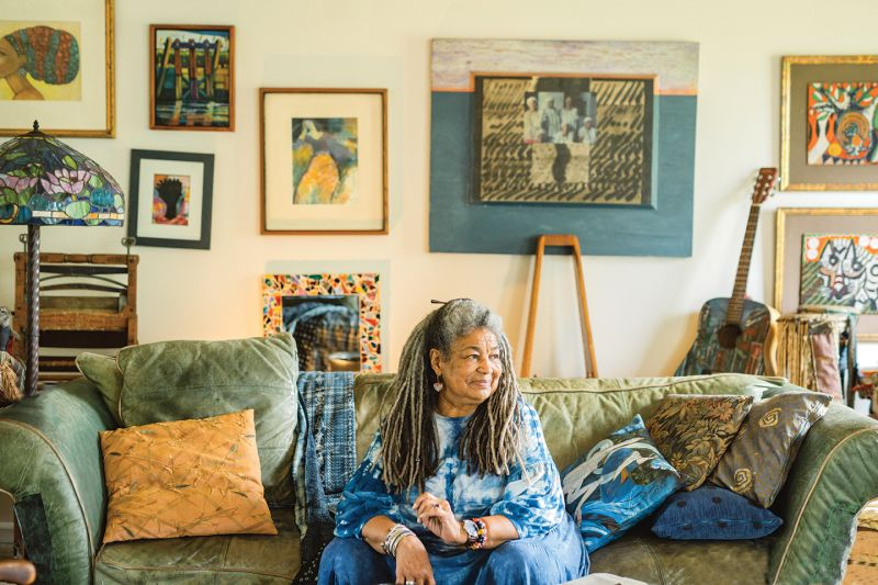 Scenes from Lowcountry life are prevalent in Comer's batik work, and indigo is almost always present. The artist is also an advocate, serving on the board of the International Center for the Indigo Culture.