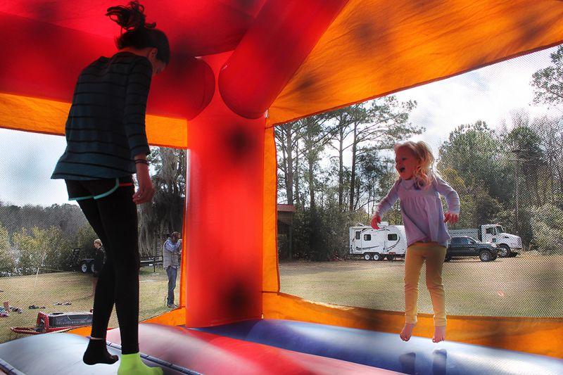 Kids had a blast in the bouncy castle