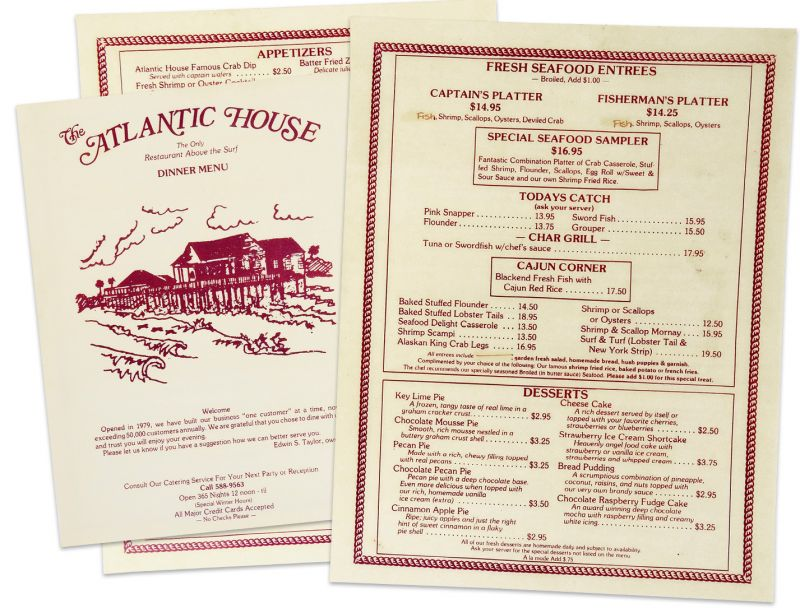 The Atlantic House menu