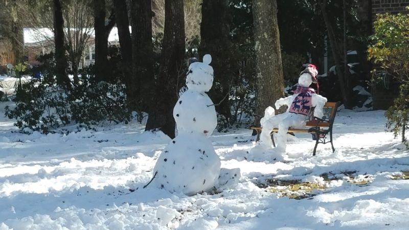 <strong>Mount Pleasant:</strong> Snowmen were spotted both standing and sitting in the park; <em>photograph by Brandon Clark </em>