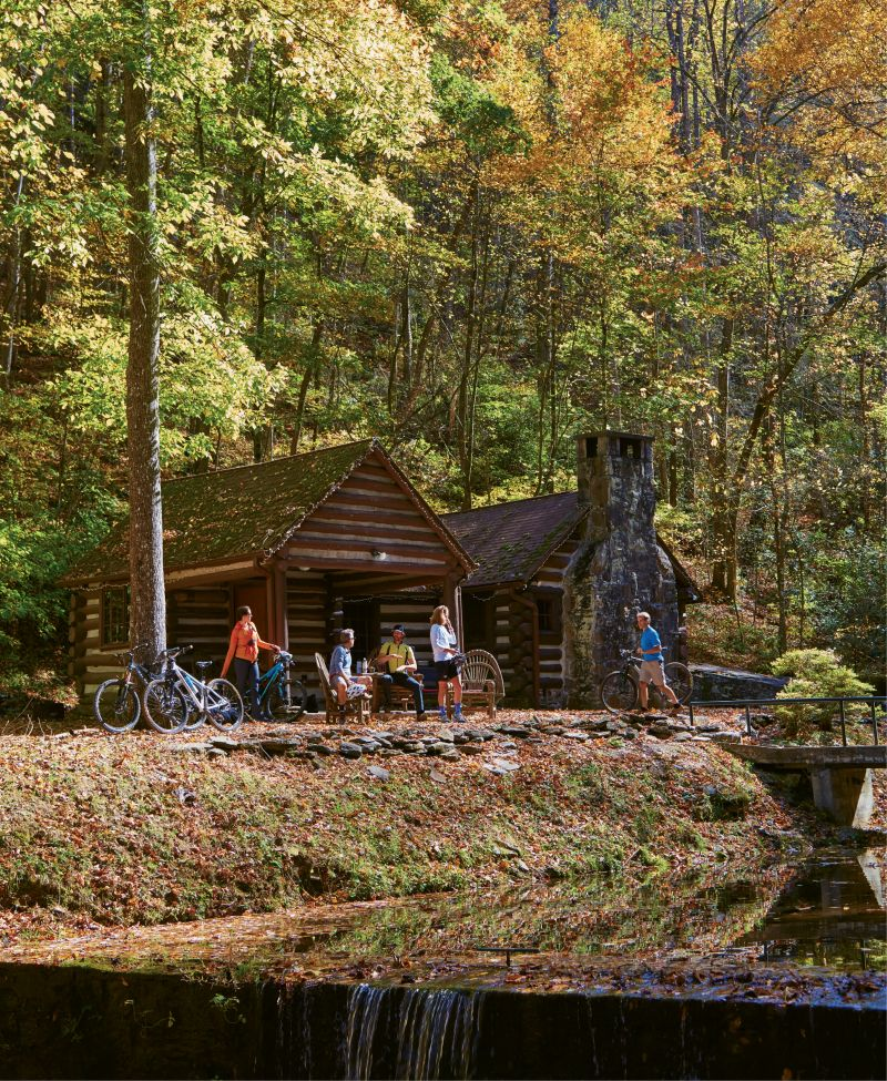 Cabin Fever: A dreamy log cabin, built circa 1940 and tucked away at the foot of a waterfall on the REEB Ranch property, was our adventure headquarters. The one-bedroom, one-bunk-room cabin (available to rent from spring to late fall) is on the outskirts of Brevard and right by DuPont State Forest.
