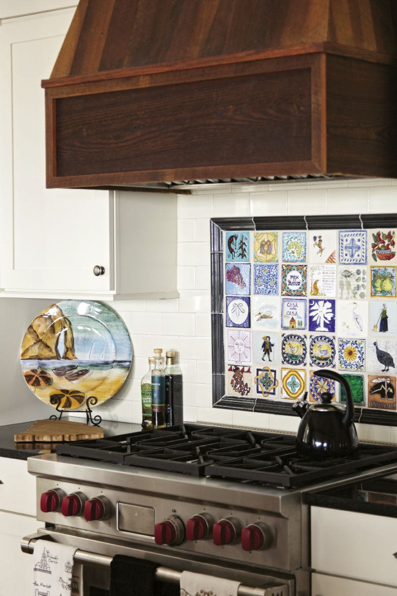 the Barbers saved tiles from their original kitchen and reused them in the new backsplash