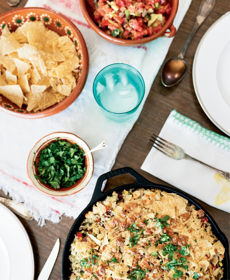 """""""When we get into a rut, I ask the children to give me a country—Mexico, Italy, China—as a jumping-off point for a dinner plan,"""" says Morey. Poblano peppers pop in this Mexican-inspired corn and rice dish."""