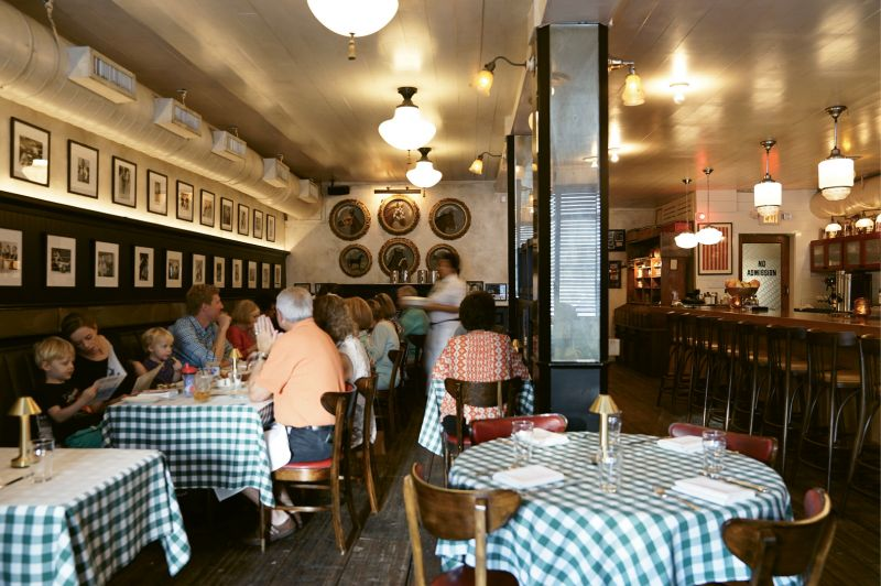 Retro Chic:  The interior décor hints at classic taverns and old-school eateries.