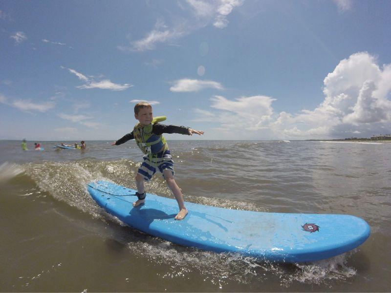 A grom in the making at Carolina Salt's Folly Beach surf camp.