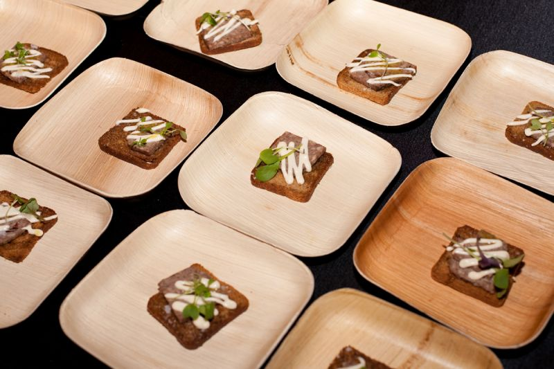 """""""Pate Croque Monsieur,"""" open-faced pate sandwiches with mornay sauce were provided by Tristan Events."""