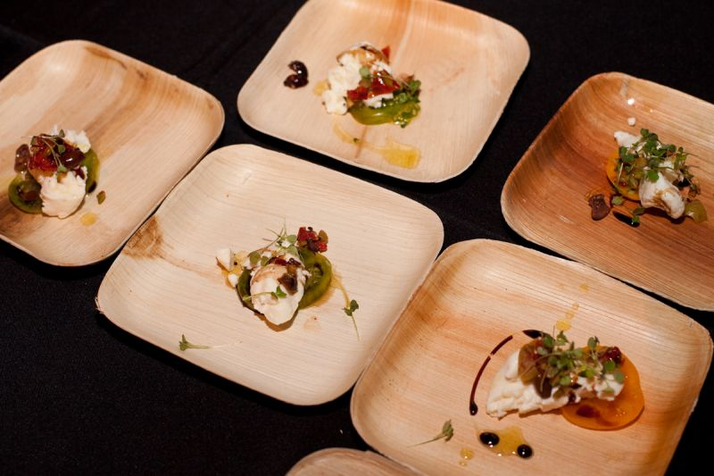 House burrata with marinated olives, micro arugula, saba, sun-dried tomatoes, and 15 year aged balsamic vinegar provided by Vincent Chicos.