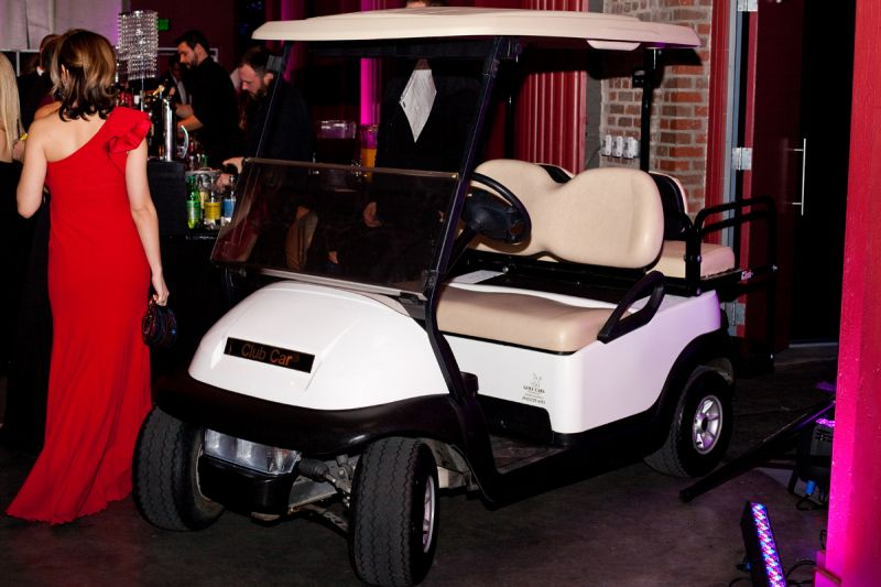 A golf cart was ready to be driven home by a lucky bidder.