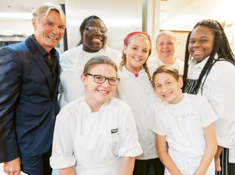 Louie's Kids founder Louis Yuhasz with Michelle Weaver  and the Little Chefs