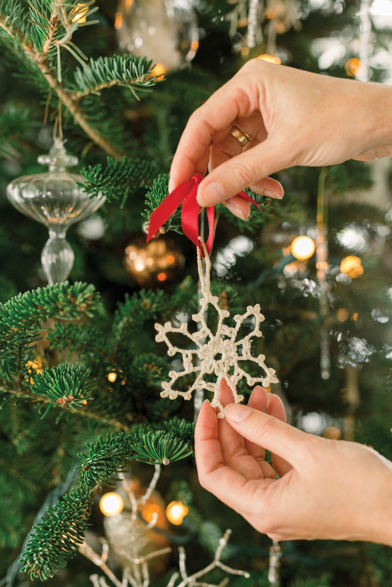 Heather treasures the eight snowflake ornaments crocheted by her grandmother.