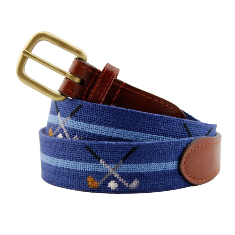 "Smathers & Branson ""Crossed Clubs"" needlepoint belt, $175 at M. Dumas & Sons"