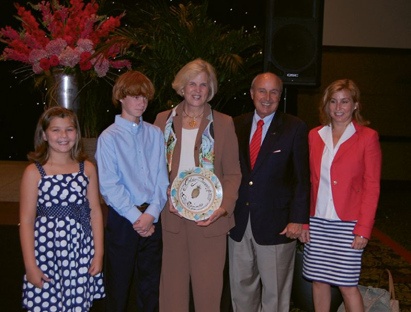 ...with husband Randal, daughter Laura, and grandchildren at the Charleston Area Convention and Visitors Bureau's June 2011 Golden Pineapple Awards presentation recognizing HCF's loan exhibit in the New York Winter Antiques Show