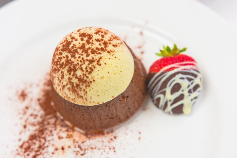Chocolate lava cake with vanilla ice cream