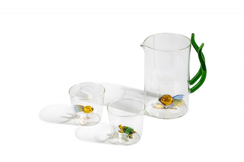 Hand-blown glass tumblers, $18, and pitcher, $80 at Elizabeth Stuart