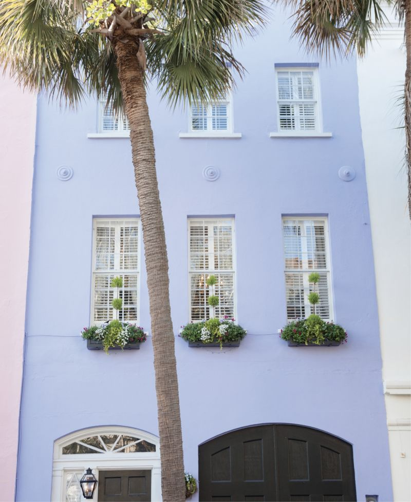 Green With Envy: Window-box topiaries on this Rainbow Row home complement the curving palmetto out front.