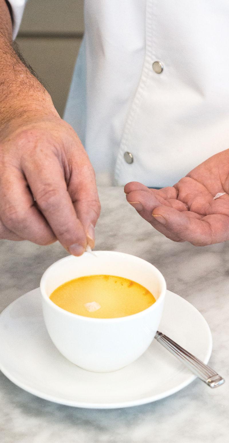 Finishing Touch: Chef Fünfrock uses Maldon flake salt to garnish his pot de crèmes.