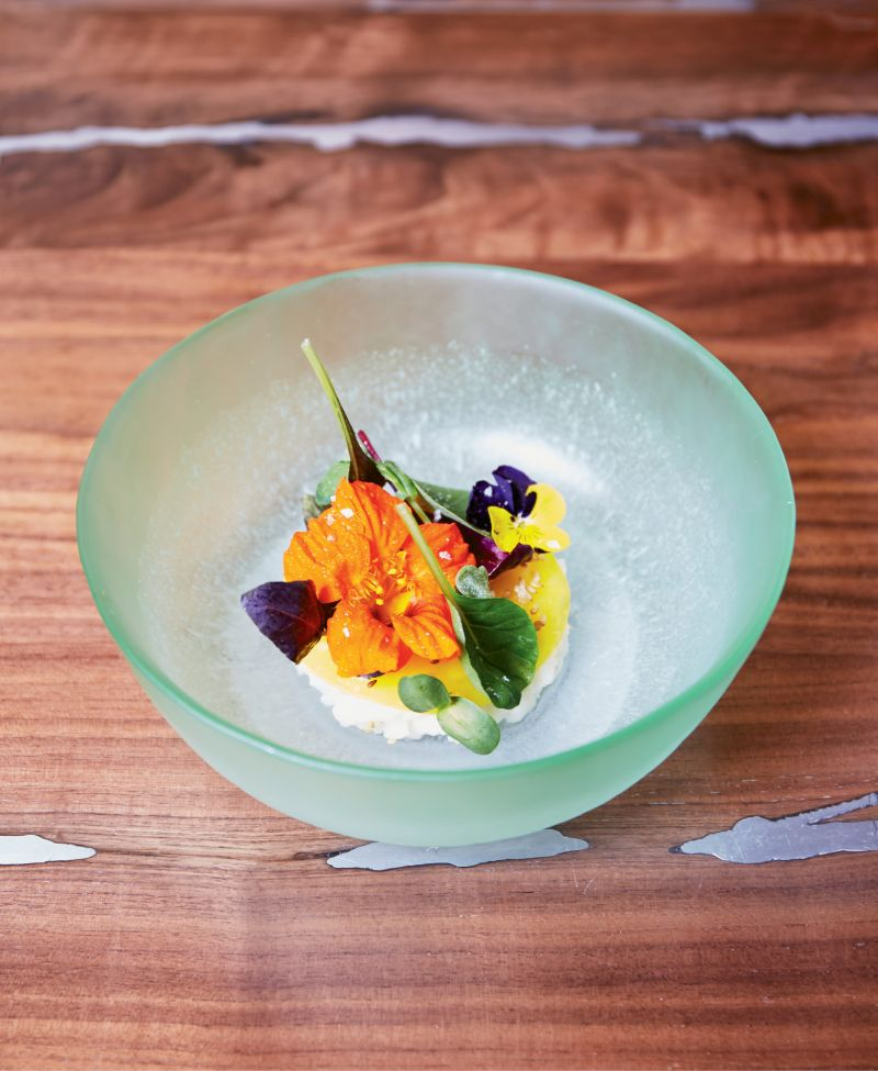 At McCrady's Counter, stunningly plated dishes with edible flowers, exotic greens, heirloom grains and proteins, and whimsical desserts are included in the menu set nightly by Sean Brock.