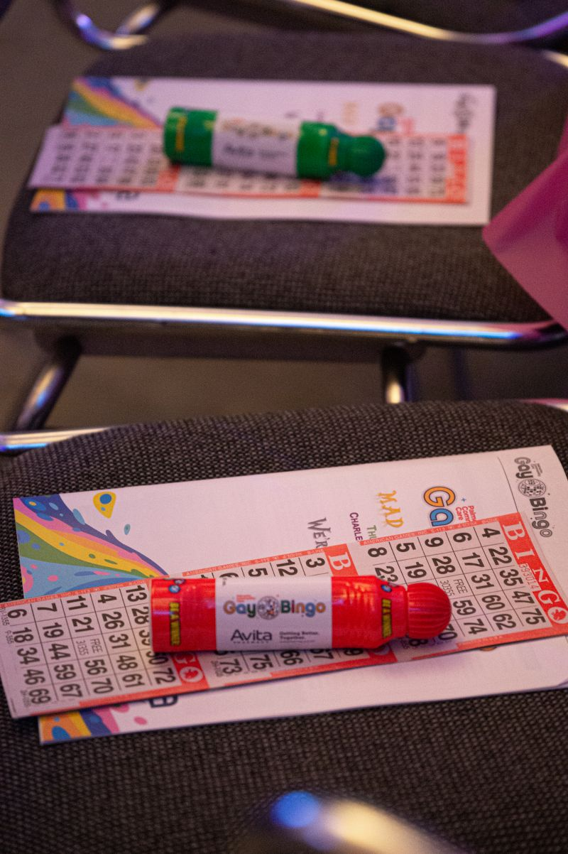 Before the games began, each guest received bingo cards and colorful blotters.