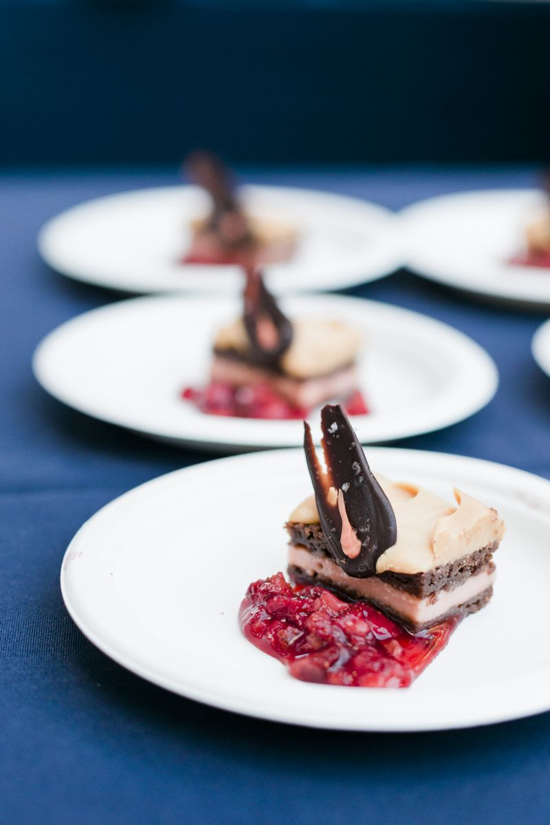 Guests sampled an array of colorful, artfully designed small bites throughout the evening. This milk chocolate cake with rhubarb curd, caramelized white chocolate namelaka, and strawberry jam by pasty chef Chris Ryan of Charleston Place was as nice on the eyes as it was the palette.
