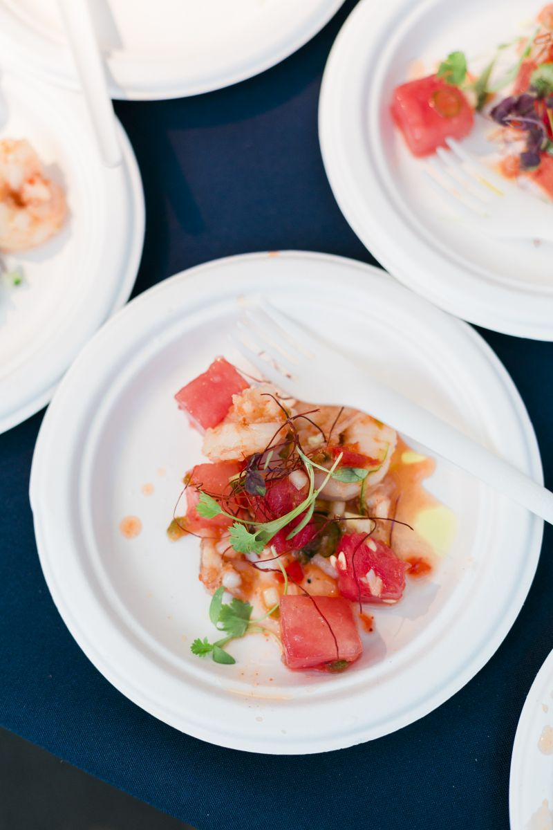 This bright plate from Revival's chef Simon Glenn featured chilled shrimp topped with watermelon, chili, and lime.