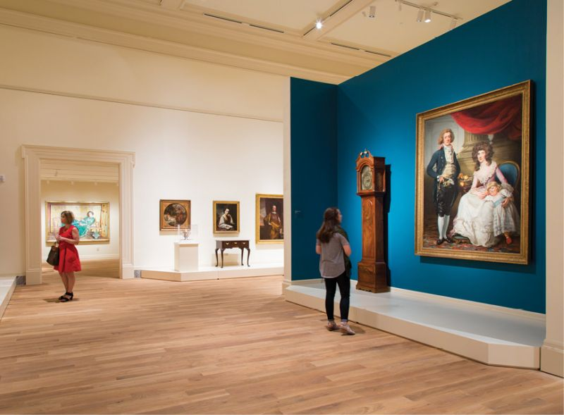 A view into the Gibbes Museum of Art's permanent exhibition of 18th- and 19th-century American paintings, sculpture, and decorative arts.