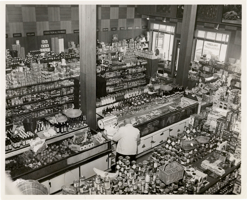 Part-deli, part gourmet foods store, part restaurant: Harold's Cabin on Wentworth Street in 1954