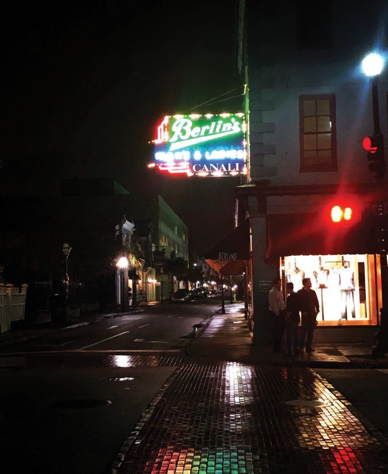 Berlin's at King and Broad streets on a wet night.