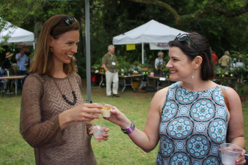 Anne Barlett and Celeste McMaster toast the chilled potato and leek soup