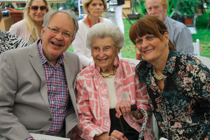 Mayor John Tecklenburg, guest of honor Lucile MacLennan, and Sandy Tecklenburg