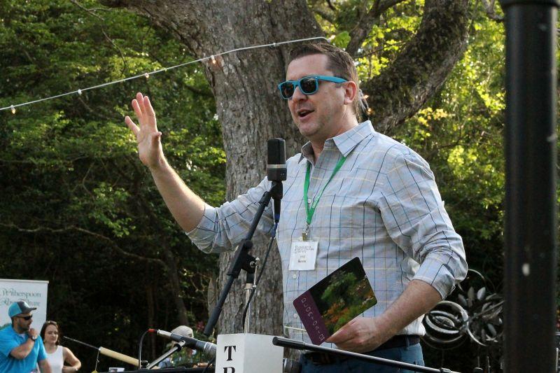 Executive director Kyle Barnett addresses the crowd.
