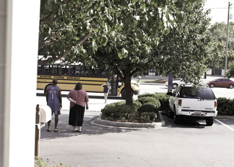 The school bus dropping off 11-year-old Jenika Ford at her stop along Savannah Highway.
