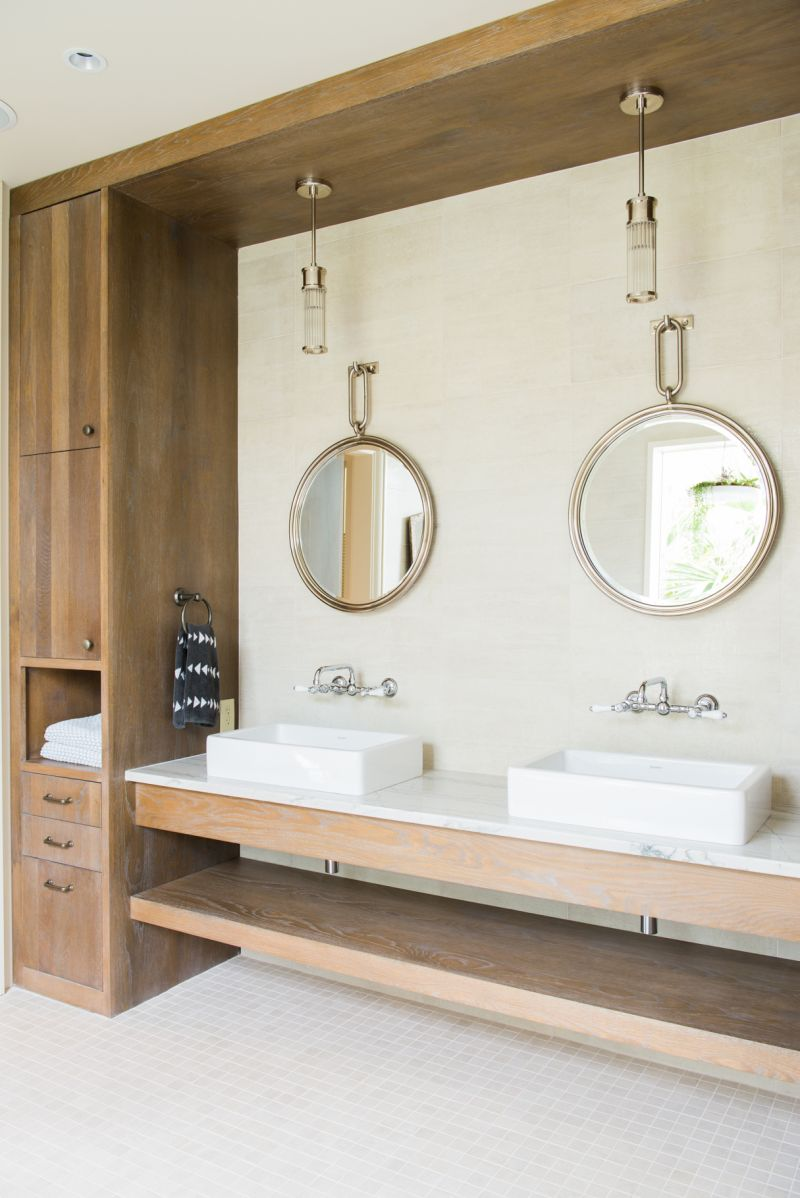 The space includes both his and her vanities...
