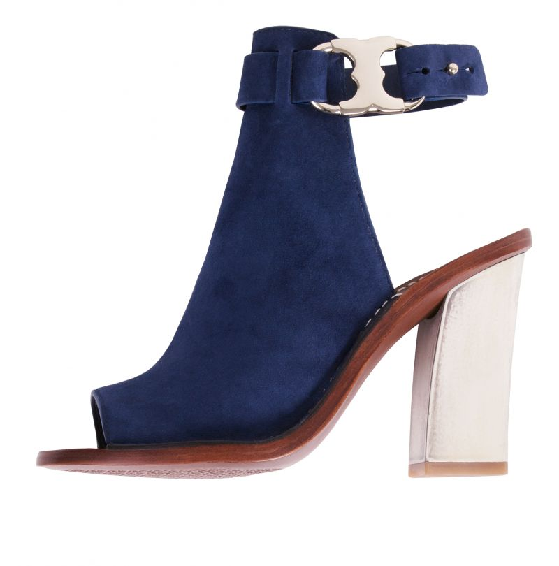 "Tory Burch's suede ""Gemini Link Peep-toe"" ($350 at Gwynn's of Mount Pleasant) is one knockout example (how sexy is that horn-like resin heel?)"