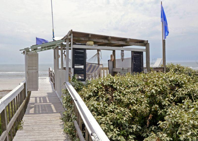 Cool spot—the rustic boardwalk heading towards the Atlantic