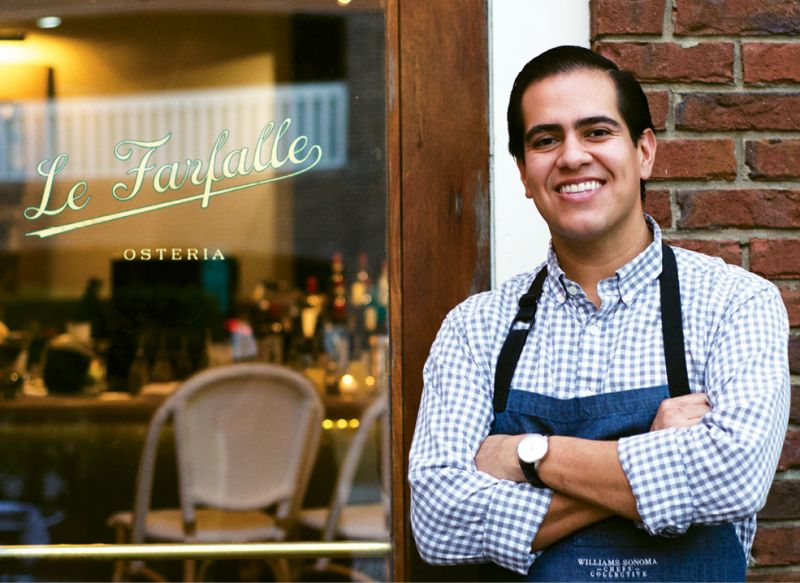Young Gun: Chef/owner Michael Toscano stands at his restaurant's entrance; by age 21, he'd worked his way to the position of sous chef of Mario Batali's Babbo.
