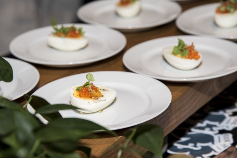 Cannon Green served seven-minute eggs with smoked trout roe, crème fraîche, and basil