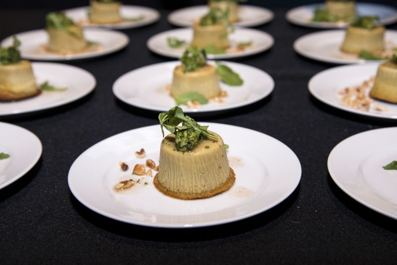 "Circa 1886's porcini mushroom ""thimble"" with arugula pesto and lemon-hazelnut vinaigrette"